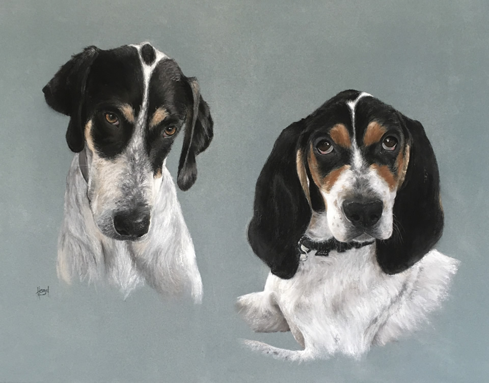 French Hunting Dogs | Pastel Drawing